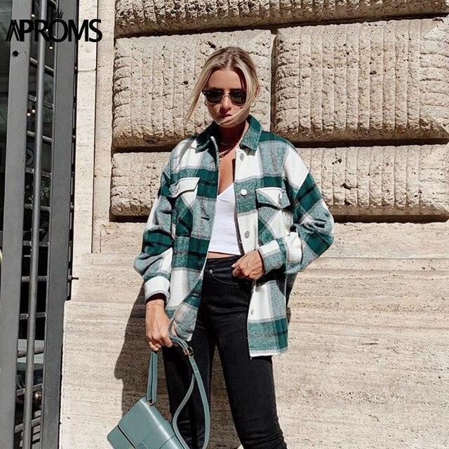Aproms verde branco xadrez jaqueta feminina manga longa bolsos oversize senhoras casacos outono inverno streetwear casual feminino outerwear