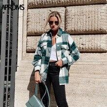 Aproms zielona biała kurtka w kratę kobiety z długim rękawem kieszenie Oversize panie płaszcze odzież Streetwear na jesień i zimę Casual damska odzież wierzchnia