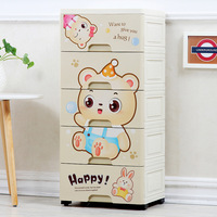 Cartoon Children's Wardrobe Drawer Receipt Cabinet Storage Box Plastic Baby Wardrobe Baby Cartoon Underwear Plastic Wardrobe