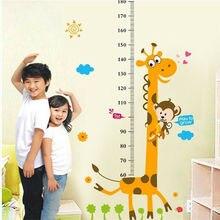 Children Height Growth Chart Measure Wall Sticker Kids Room Decor Animal Decal Giraffe Print Wall Sticker animal height chart wall stickers diy kid room decor