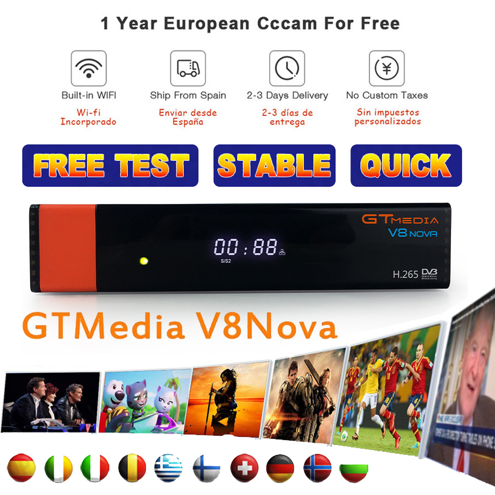 Gtmedia v8 satellite finder lnb freesat v8 mit cccam spanien cline für 1 jahr europa/decodificador <font><b>tv</b></font> satelital <font><b>gratis</b></font> dvb s2 image