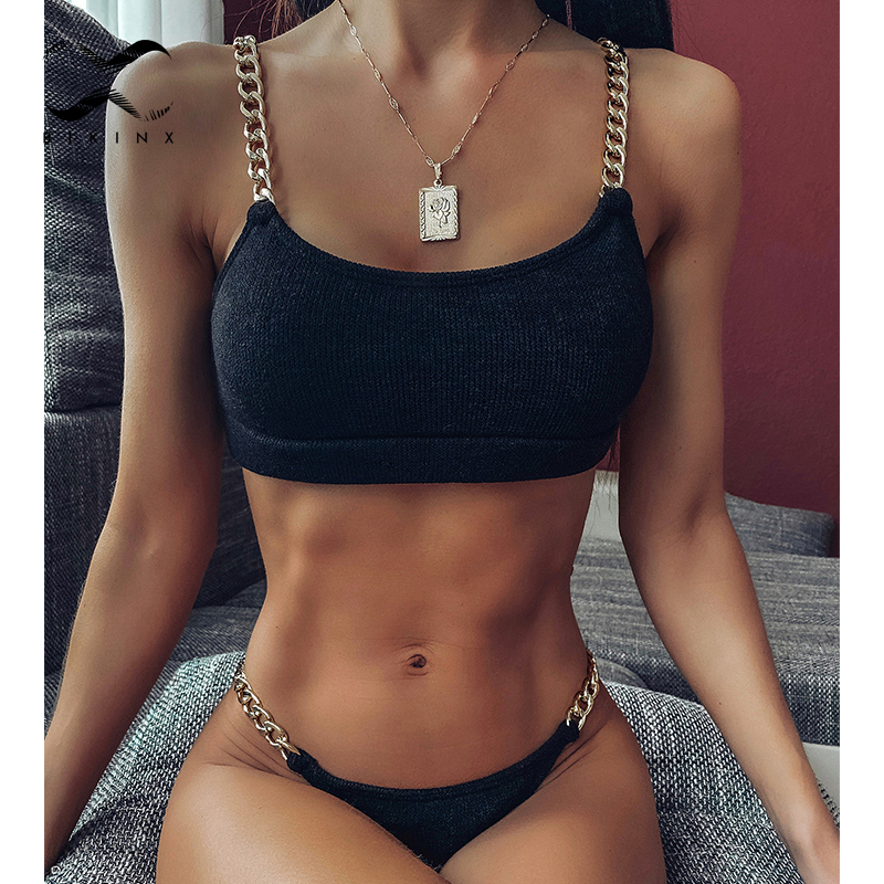 Mellatic Swimwear Women Sexy Ring Chain Bikini Set High Cut Bathing Suit 2020 Fashion Woman Swimsuit Female Summer Bathers New