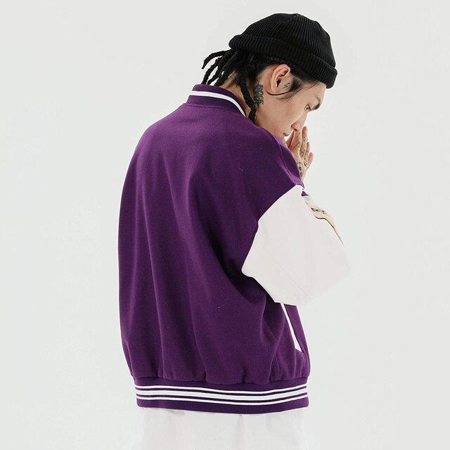 Aolamegs Furry Bone Letter Patch Color Block Patchwork 3 color Optional Harajuku College Style Bomber Jacket Men Baseball Coats 5