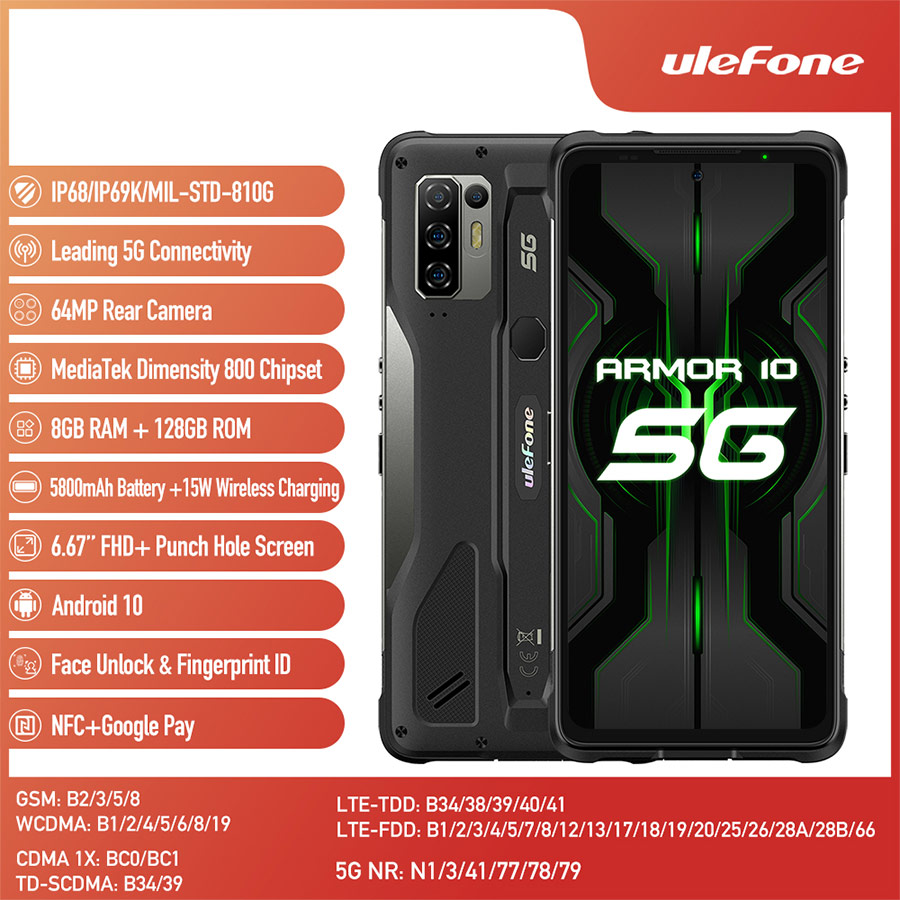 Ulefone Power 10 6,67 «FHD Android 10,0 Octa Core 8GB 128GB смартфон 5800 мА/ч, 5G 64MP Камера мобильный телефон