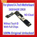100% Original unlocked for iphone 6 4.7inch Motherboard without NO Touch ID for iphone 6 Logic boards,16gb / 64gb / 128gb