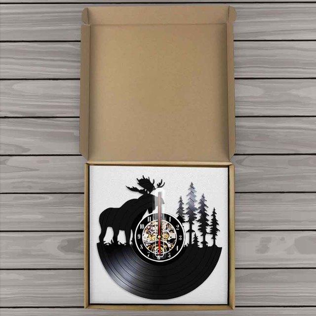 Настенные часы в стиле ретро, виниловые настенные часы с изображением оленя, рога, лося, дерева, охоты, подарок