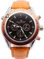 Nova Marca de Aço Inoxidável relógio de Pulso dos homens de luxo James Bond 007 Laranja Azul Mecânico Automático Relógios de Couro À Prova D' Água