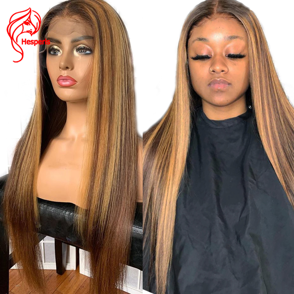 Hesperis13x6 Lace Front Human Hair Wig Brown And Blond Highlight Wigs Brazilian Remy 360 Lace Frontal Wig Blonde Lace Front Wigs