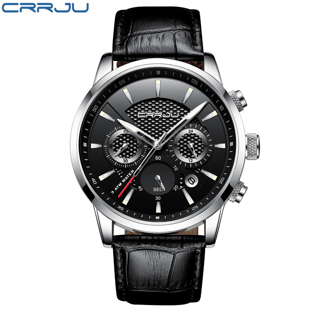 CRRJU, nuevos relojes de moda para hombre, relojes de pulsera analógicos de cuarzo, cronógrafo resistente al agua de 30M, reloj deportivo con fecha Relojes De Correa De Cuero para hombre 7