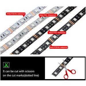 Светодиодная лента USB 5050 RGB, изменяемый цвет, сделай сам, гибкий светодиодный светильник, водонепроницаемая лента, не водонепроницаемая, 0,5 м, 1 м, 2 м, с контроллером USB.