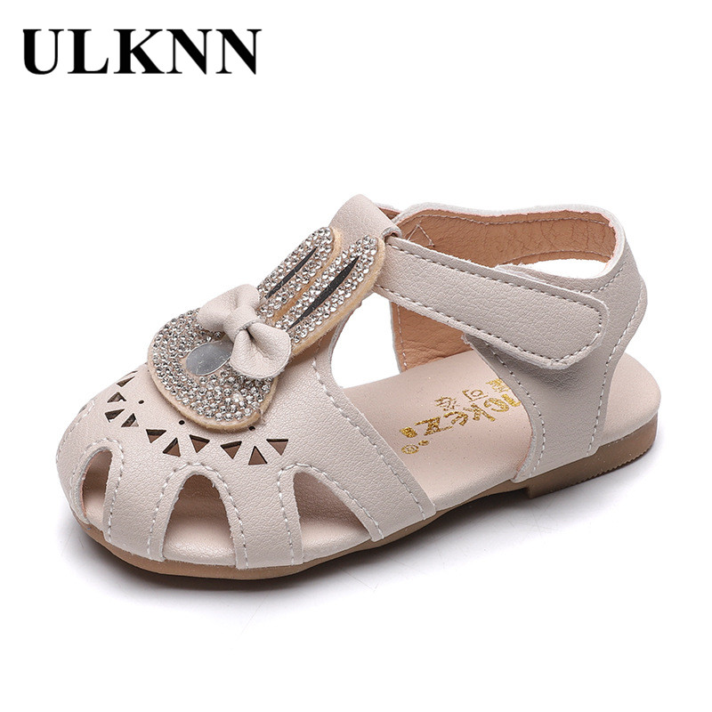 ULKNNFashion Leather Children Bowtie Rhinestone Toddler Kids Soft Bottom Empty Sandals Princess Girls 6M 9M 12M 18M 2 3 4 Years