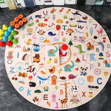 Montessori Early education toys wooden jigsaw puzzle parent child team interactive card game detective search answer memory game