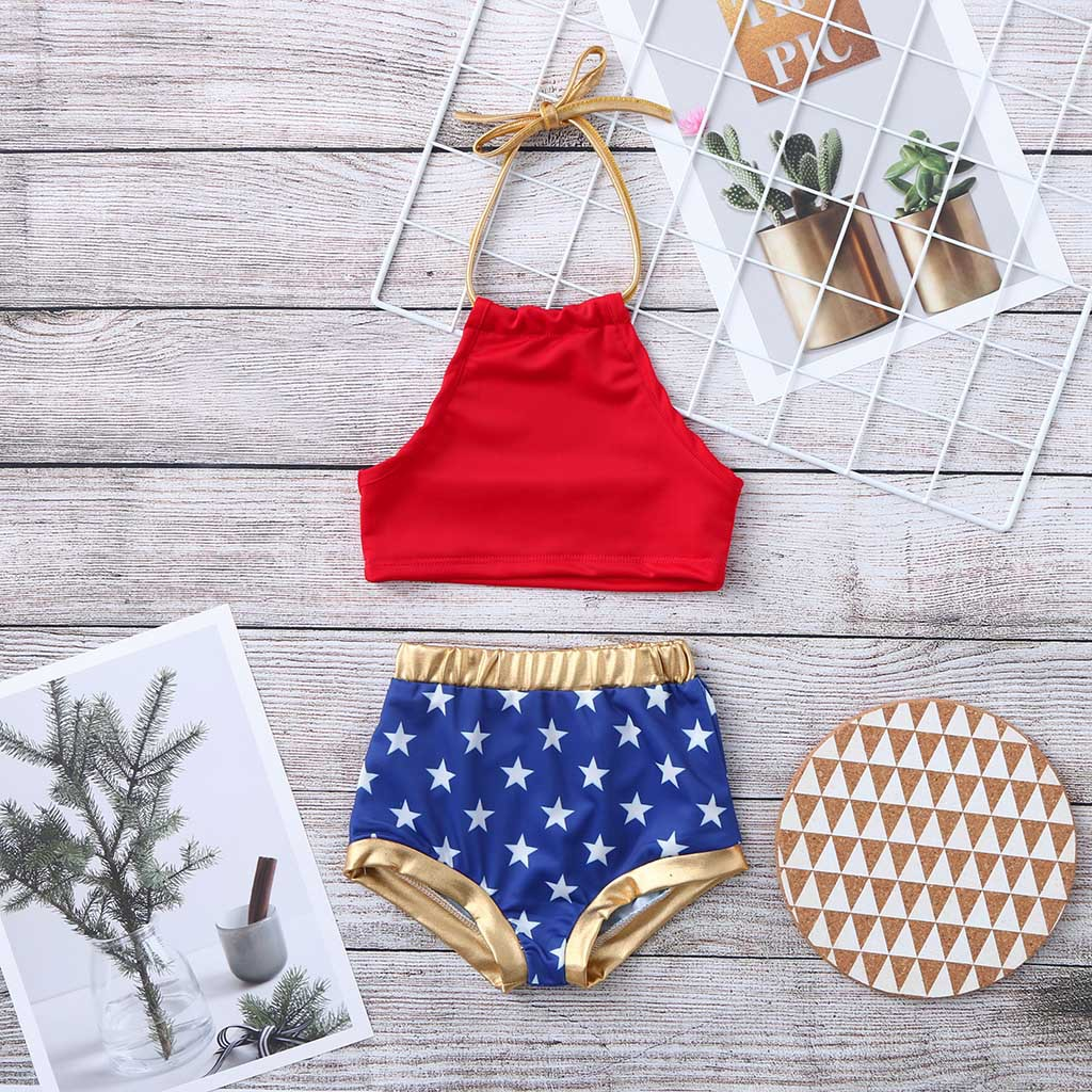 New Style Little Girl American-Style Bathing Suit Two-Piece Set Summer Girls Pure Cotton Little Star Tour Bathing Suit