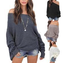 Женский осенний зимний Однотонный свитер с длинным рукавом и открытыми плечами, вязаный свободный свитер, вязаный свитер, пуловер, вязаная уличная одежда