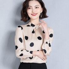 Korean Silk Blouses Women Polka Dot Satin Blouse Vintage Shirt Plus Size Woman Long Sleeve Print Shirt Blusas Femininas Elegante