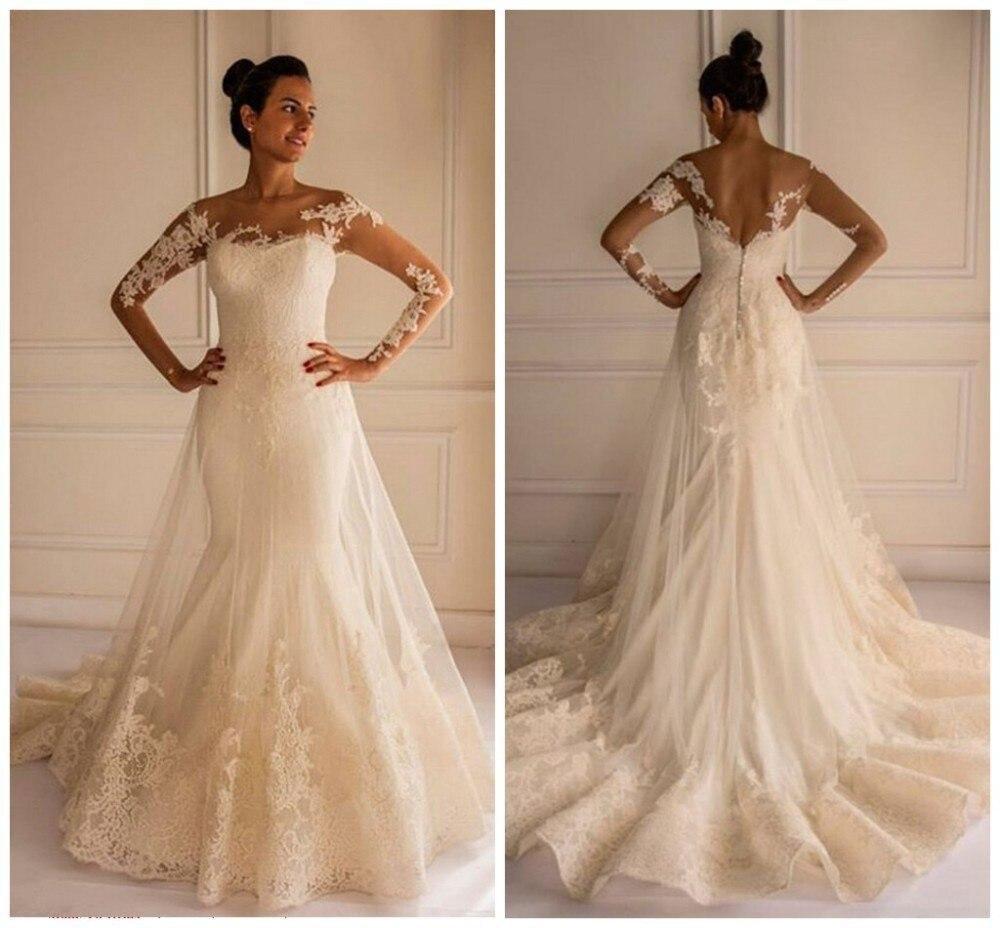 MANSA Vintage Mermaid Lace Long Sleeve Wedding Dress Bridal Gowns Vestido Noiva Sereia 2015 New Arrival Hippie Wedding Dresses