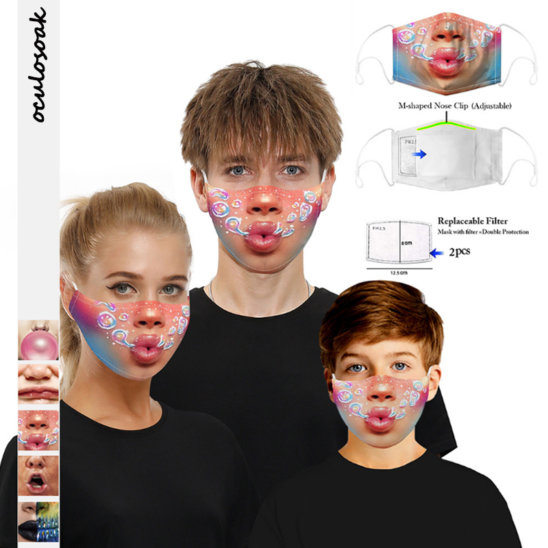 3D 2020 New Mouth Digital Printed Child Adult Protective Mask Adjustable Earband With 2 Filter Chips