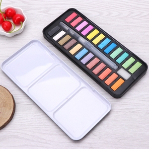12/18/24 Solid Watercolor Paint Set Portable Drawing Brush Art Painting Supplies WXTB