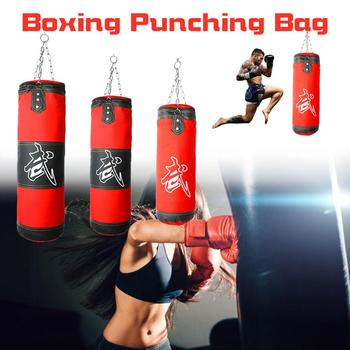 NEW 60cm-100cm Empty Boxing Sand Bag Hanging Kick Sandbag Boxing Training Fight Karate Punch Punching with Chain Hook Carabiner top quality hollow sand bag boxing sandbag punching bag with hanging chain rotating hook safety buckle