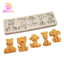 DEOUNY Cartoon Forest Animals Molds Fondant Cake Decorating Tools Silicone Mould Sugar Crafts Chocolate Baking Tools For Cupcake