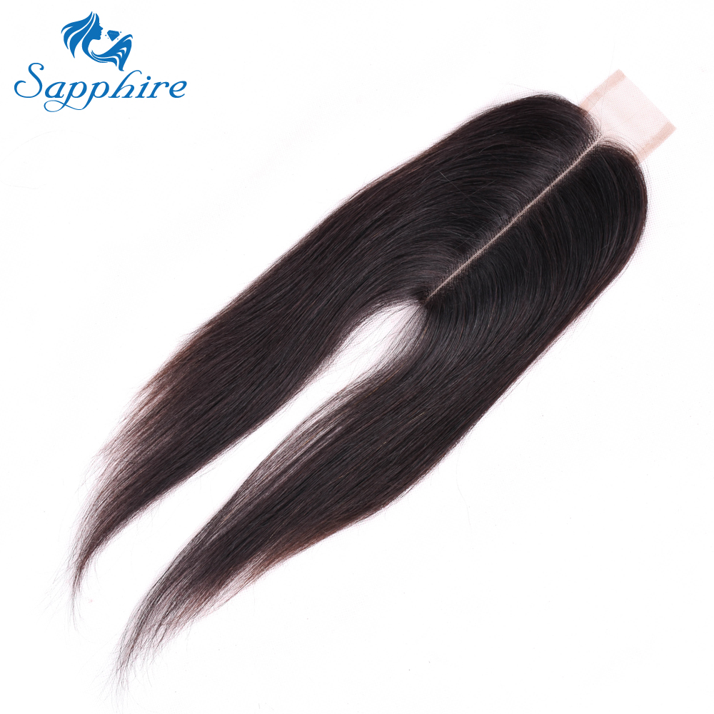 Sapphire 2*6 Brazilian Straight Hair Closure With Baby Hair Middle Part Swiss Lace Remy Human Hair Natural Color Free Shipping