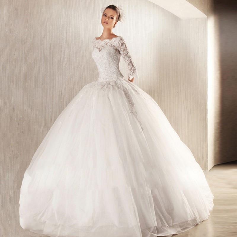 2015 Casamento Vestido De Noiva Princesa Abiti Da Sposa Long Sleeve Lace Wedding Dresses Bridal Vintage White Ball Gown Made