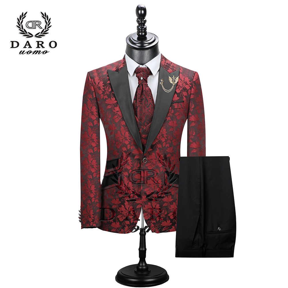 2019 Nieuwe Mannen Pak 3 Stuks smoking Slim Fit rood koffie blauw voor Trouwjurk Suits Blazer Broek en Vest DR8228