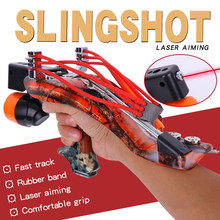 Big Power Slingshot Fishing Outdoor Survival Camping Equipment With Red Laser Catapult Hunting Accessories Self Defense Weapons(China)