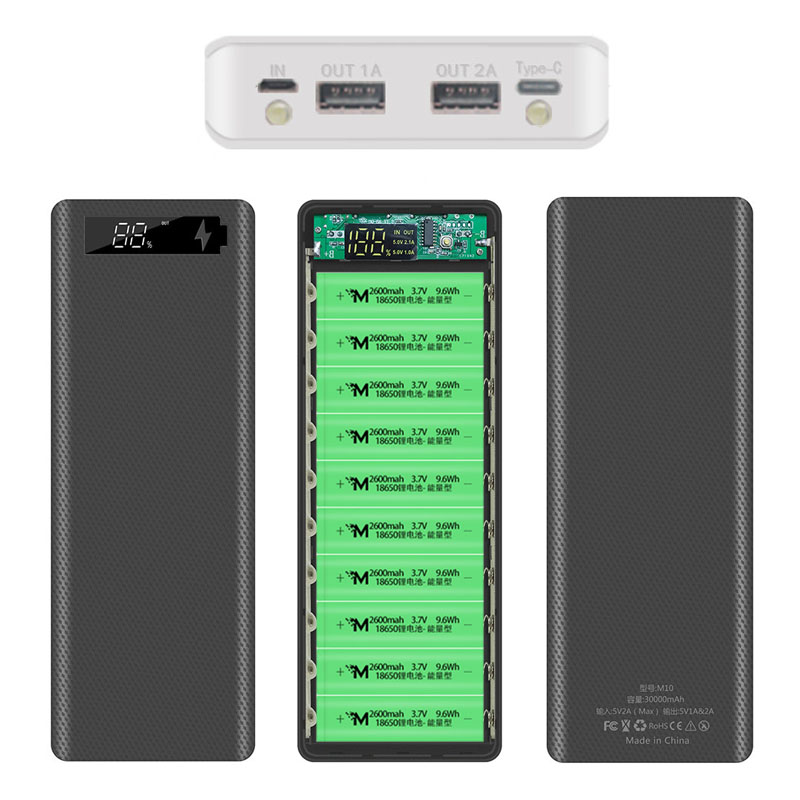 30000mAh Micro Type C Dual USB Ports DIY Powerbank Case 10*18650 Battery Digital Display Power Bank Kit External Charge Box