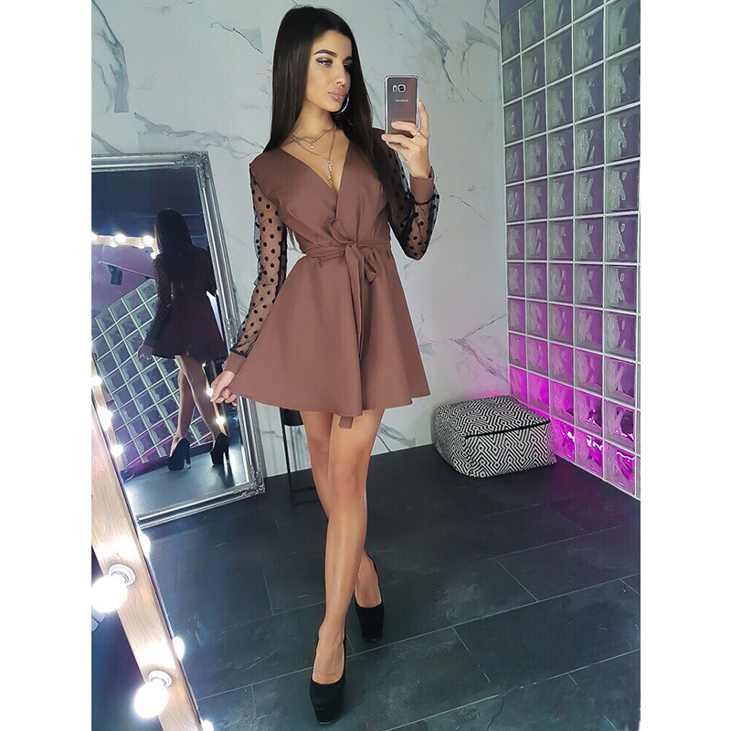 Women Vintage Lace Patchwork Sashes A-line Party Dress Long Sleeve Sexy V Neck Solid Casual Mini Dress 2019 Autumn Fashion Dress