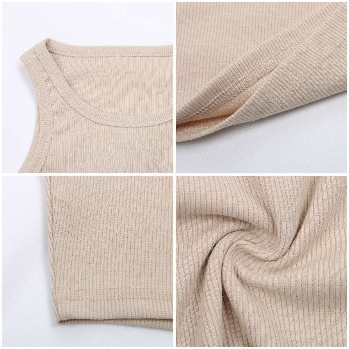 Women's Korean Shoulder Knitted Ribbed Tank Tops