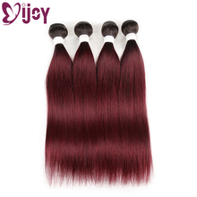Human-Hair Weave Bundles Hair-Extensions Omber IJOY Straight 99j/burgundy Brazilian Non-Remy