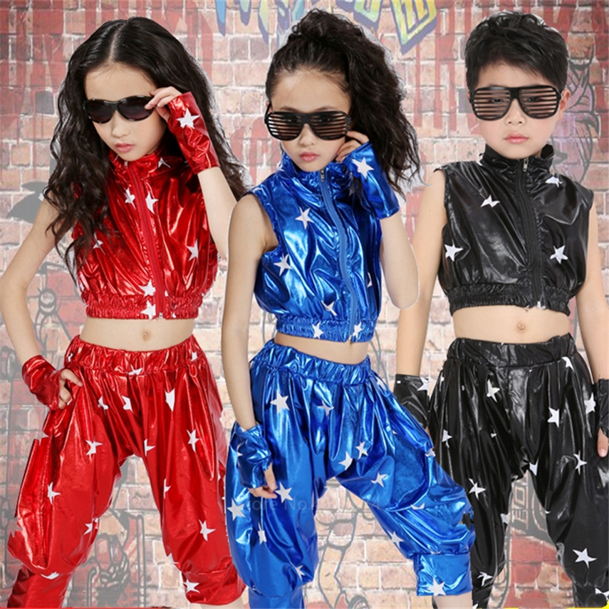 2PCs Children Modern Jazz Dance Costumes Sleeveless Vest+shorts Clothing Set Disco Cheerleading Dancing Suit School Uniform