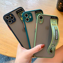 Trendy Air Ticket Camera Protection Matte Wrist Strap Holder Case for iPhone 12 11 Pro Max XR SE 2 6 7 8 Plus X XS Max Hard Etui