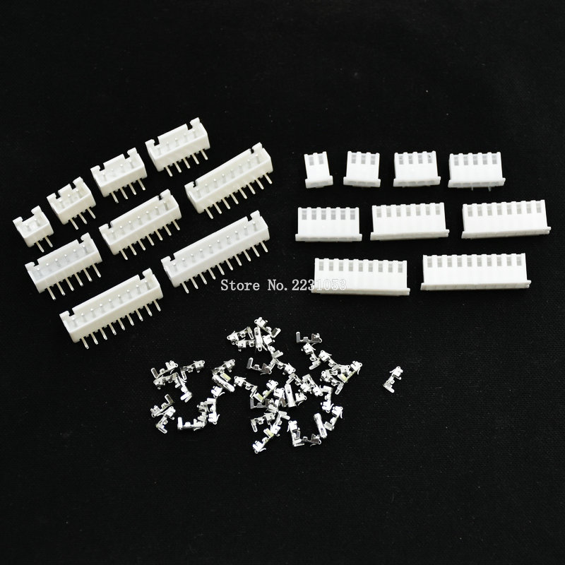 20 Sets XH2.54 Wire Connector XH 2.54mm Right Angle Curved Pin Header + Housing + Terminal For PCB Car 2/3/4/5/6/7/8/9/10Pin