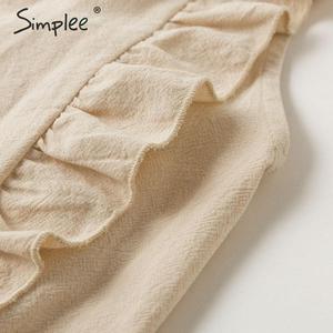 Image 5 - Simplee Sleeveless ruffled women dress High waist belt o neck a line summer dress Cotton solid female spring office mini dress