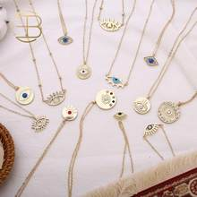 2020 New Fashion Ladies Chic Gold Chain Colorful Rhinestone Filled Evil Eye Coin Necklaces For Women Bohemian Gold Necklaces(China)