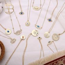 2020 neue Mode Damen Chic Gold Kette Bunte Strass Gefüllt Evil Eye Münze Halsketten Für Frauen Böhmischen Gold Halsketten