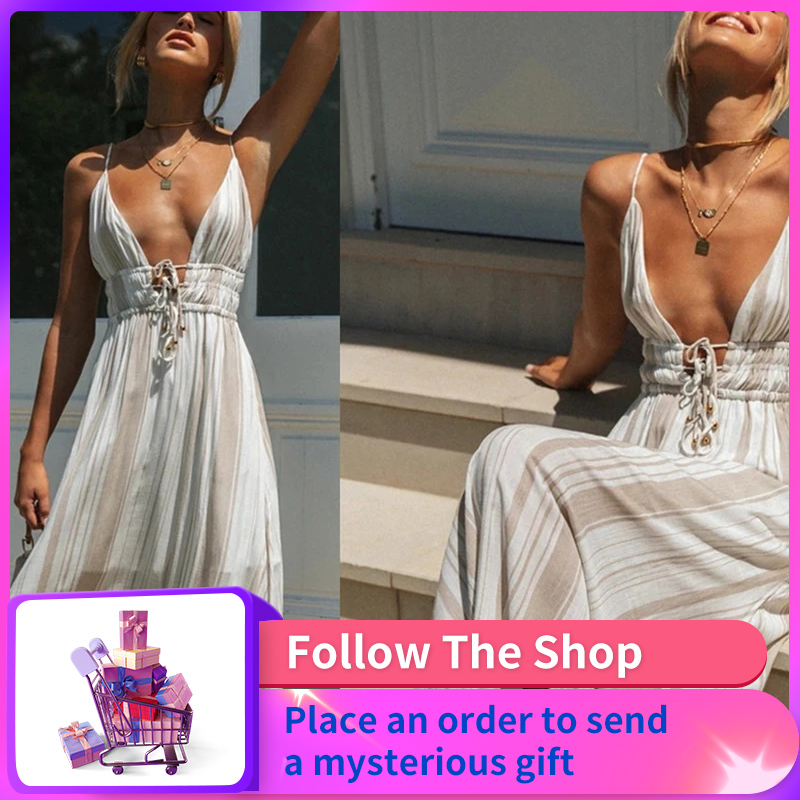 Ladies Spring And Summer Hot Style Simple Fashion Women's New Style Lace Stitching V-Neck Straps And Elegant All-Match Dresses