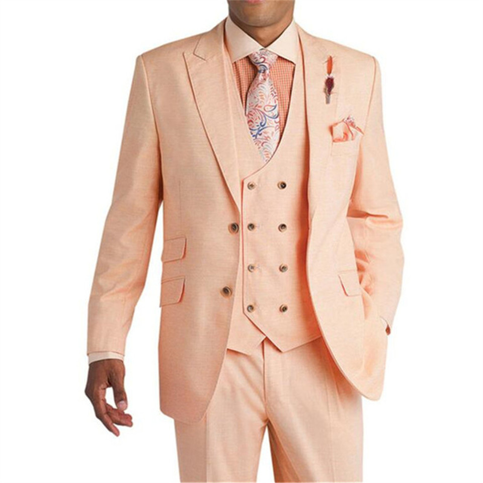 New Classic Men's Suit Smolking Noivo Terno Slim Fit Easculino Evening Suits For Men Pink Wedding Groom Tuxedos Prom Blazer