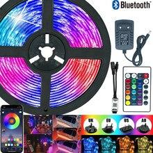 Tira de luces Led RGB 5050 resistente al agua, 5M, 10M, 15M, diodo 2835 SMD 5050, cinta Flexible para decoración de vacaciones