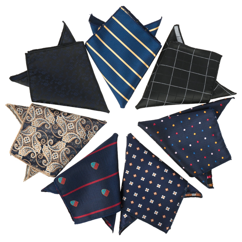 12PCS England Style Silk Smooth Pocket Square Handkerchief Men Formal Hankies Wedding Business PartyPocket Squares Tie Sets