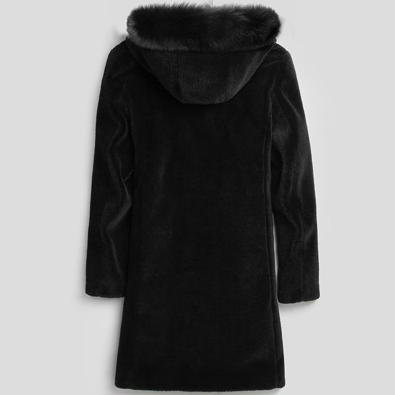 Winter Jacket Men Real Sheep Shearing Fur Coat Real Fox Fur Collar Jackets Mens Natural Wool Fur Coats LSY070079 MY730