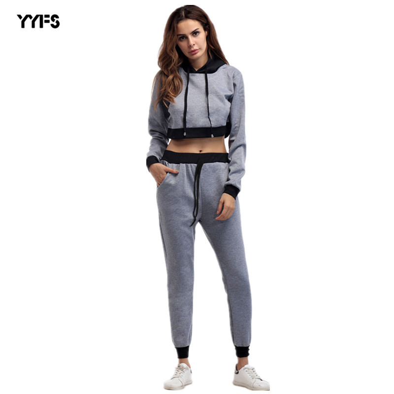 AliExpress 2019 New Style Hooded Short Hoodie + Mixed Colors Trousers Two-Piece Set Leisure Suit Women's
