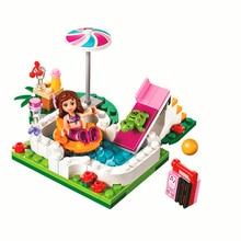 10542 mädchen Freunde Serie Urlaub Schwimmen Pool Figuren Blöcke Bau Gebäude Ziegel Spielzeug Für Kinder
