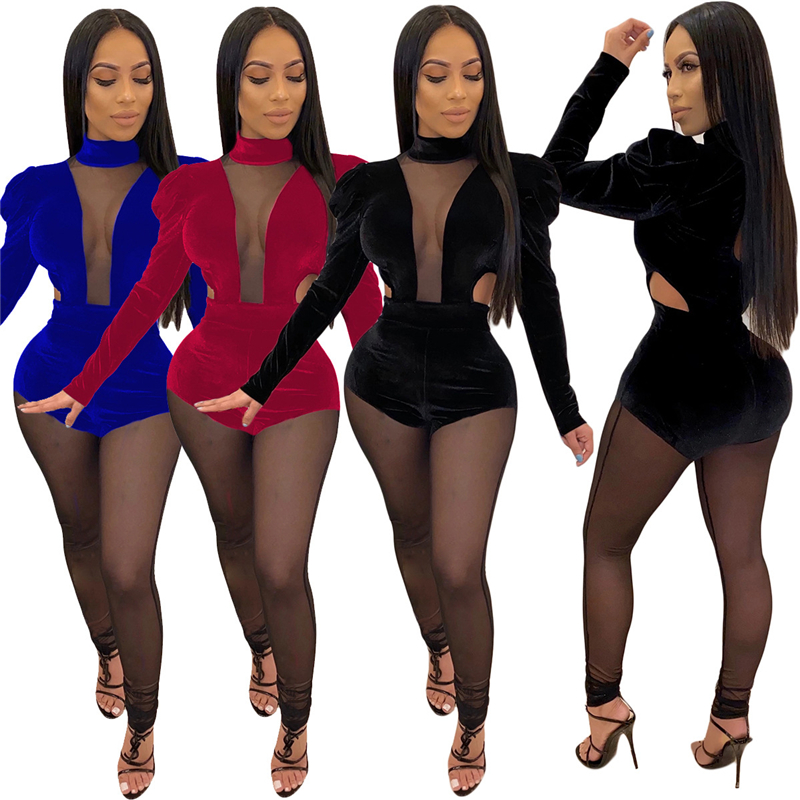Adogirl Women Sexy Sheer Mesh Patchwork Velvet Jumpsuit Turtleneck Puff Long Sleeve Skinny Romper Night Club Overalls Christmas