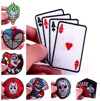 DIY Joker Poker mektup yama demir On yamalar giyim için işlemeli Punk kafatası rozetli yama etiket giysi aksesuarları için