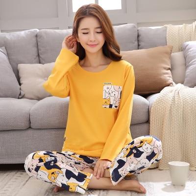 Autumn Winter New Long Sleeve Women   Pajamas     Set   Round Neck Yellow Cartoon Cat Print Sleepwear Female 2 Piece Winter   Pajama     Set