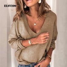 5XL Loose Deep V-neck Solid Basic Blouse Women Autumn Long Sleeve Plus Size Tops