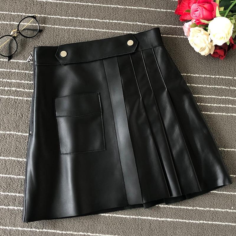 2020 Spring New Sheepskin Skirt Womens High Waist A-Line Skirt Black Pleated Skirt Womens Leather Umbrella Skirt